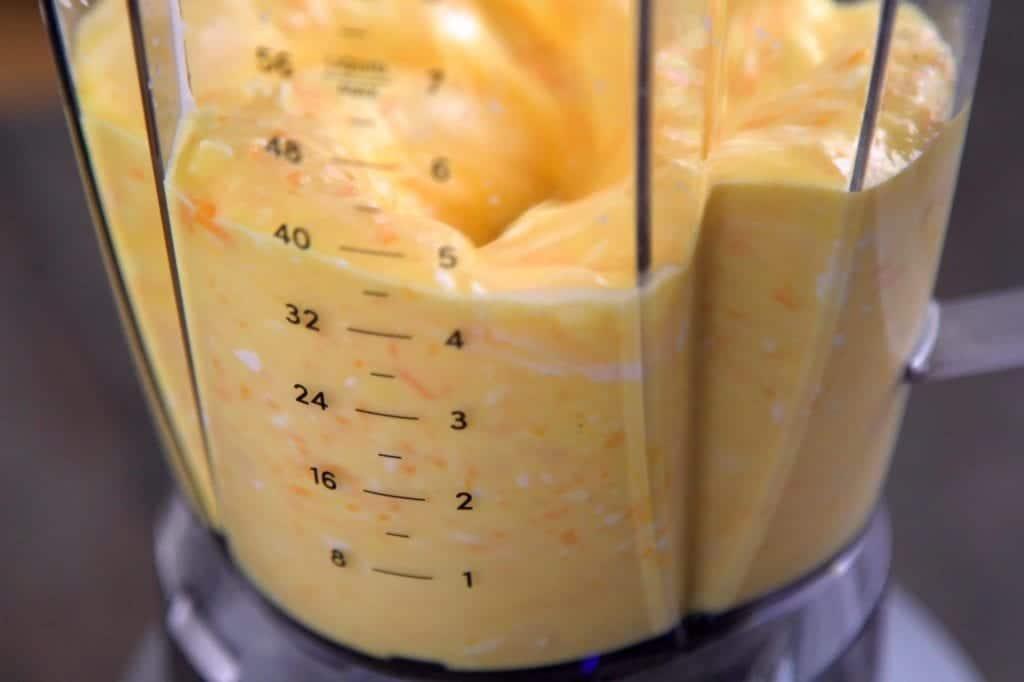 Blend egg mixture until smooth