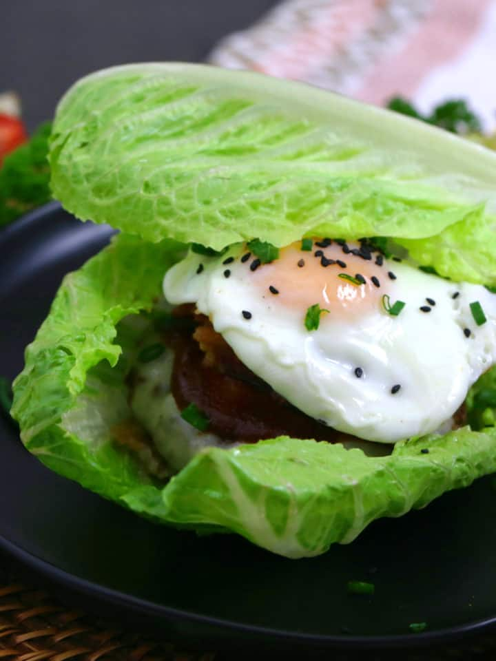 Keto Breakfast Burger in a Lettuce Wrap
