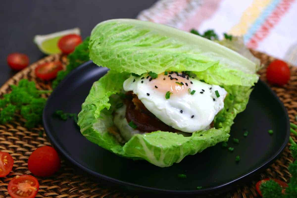 Keto Breakfast Burger in a Lettuce Wrap