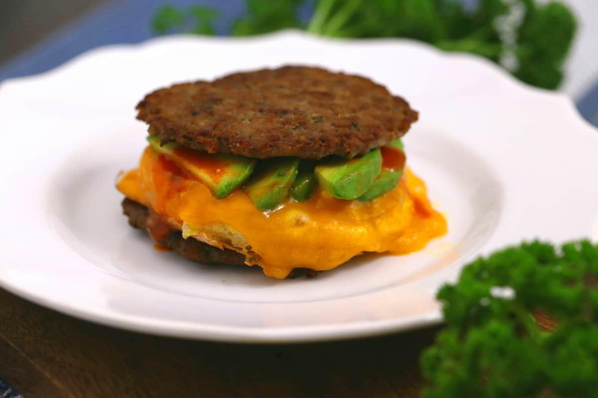 Keto Breakfast Sandwich with Sausage Patties