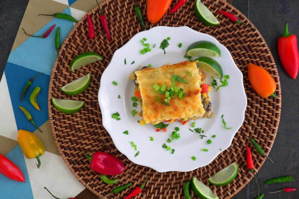 Vegetarian Enchilada Casserole with Corn Tortillas