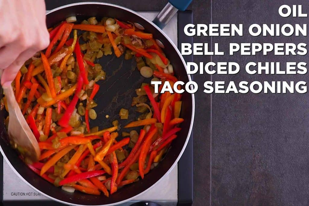 Saute chopped white base of green onion and sliced sweet mini peppers for 4-5 minutes, then add diced green chiles and taco seasoning.