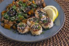 Pan Seared Scallops & Veggie Saute