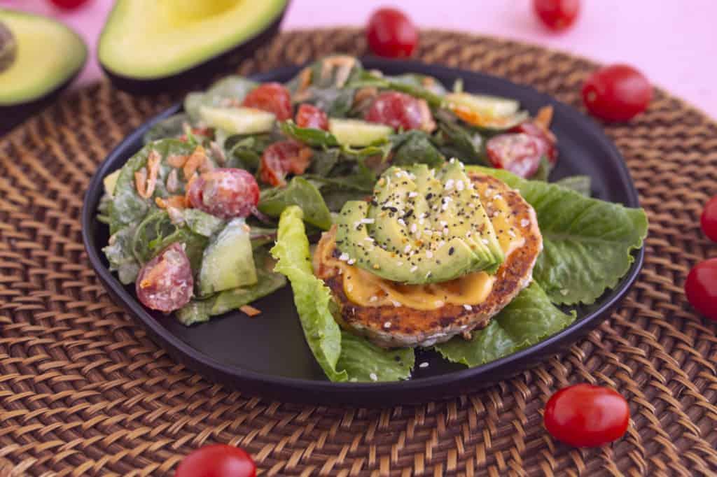 Healthy Salmon Burger Meal