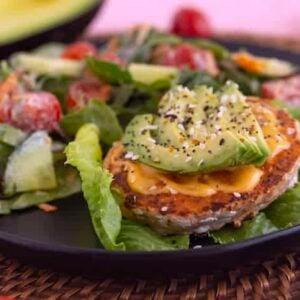 Salmon Burger Meal with Salad