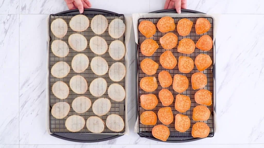 Arrange baked veggie chips on a wire baking rack for crispiest results