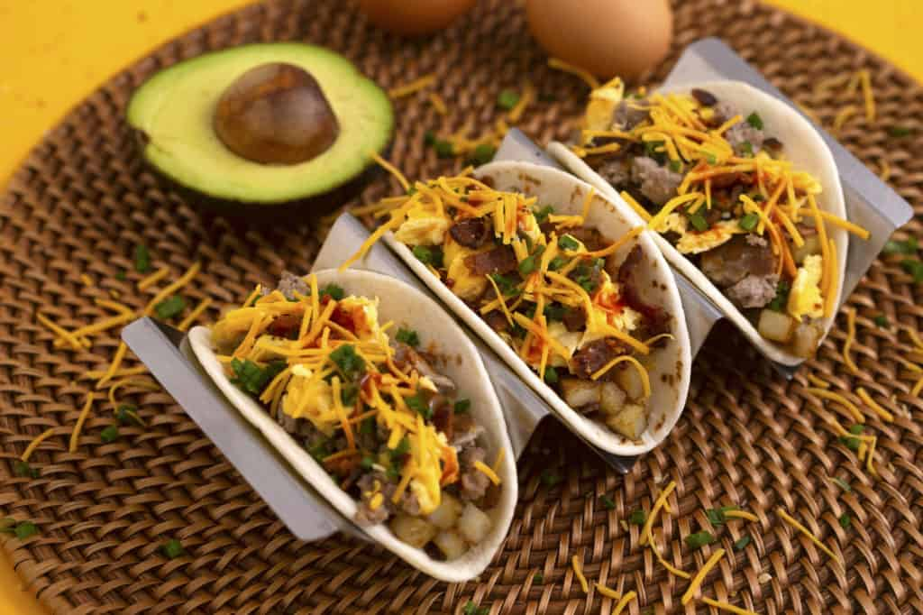 Easy Breakfast Tacos with eggs and sausage and bacon