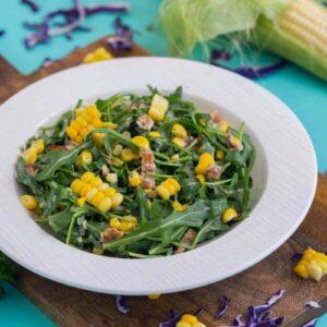 Corn Arugula Salad with Bacon