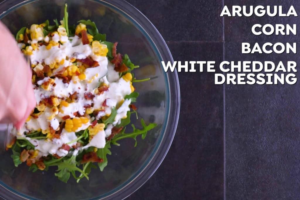 Arugula Corn Salad with Bacon & White Cheddar Dressing