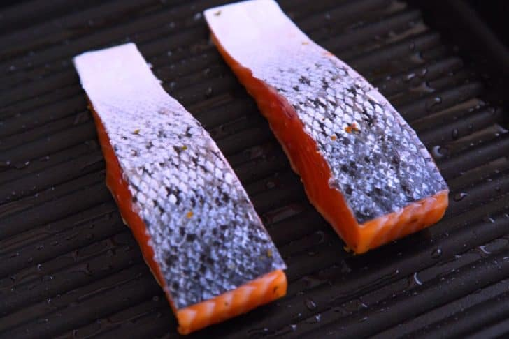 Pan grilled salmon with skin on