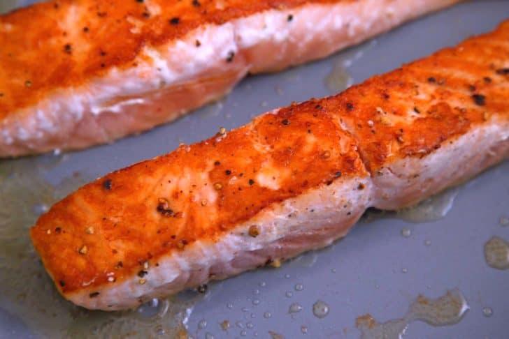 Pan sear salmon filets 4 minutes on each side