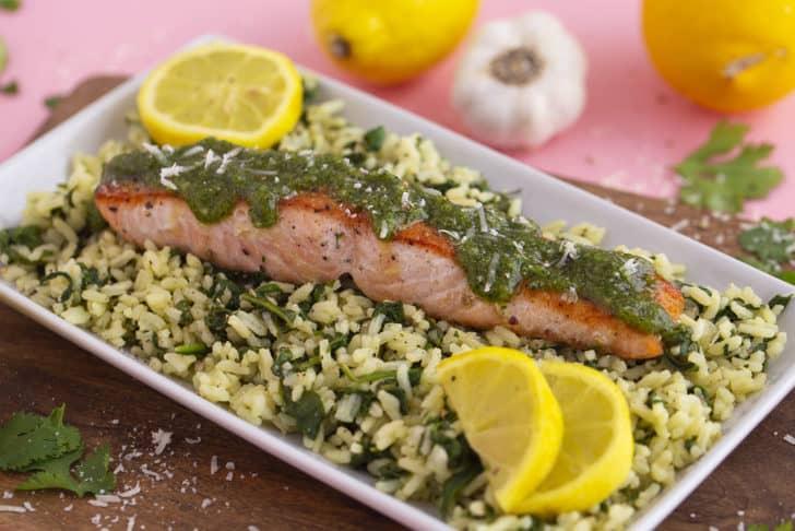 Spinach Rice with Cilantro Pesto Salmon