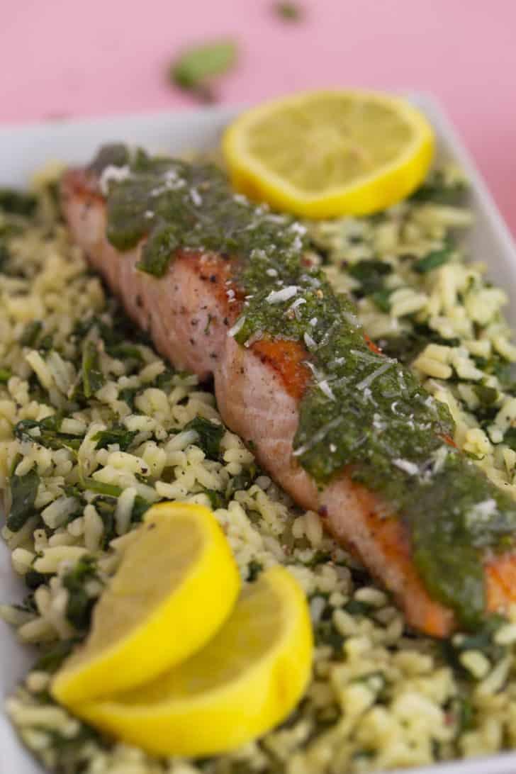Cilantro Pesto Salmon & Rice