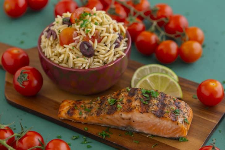 Greek Orzo Salad & Pan Grilled Salmon