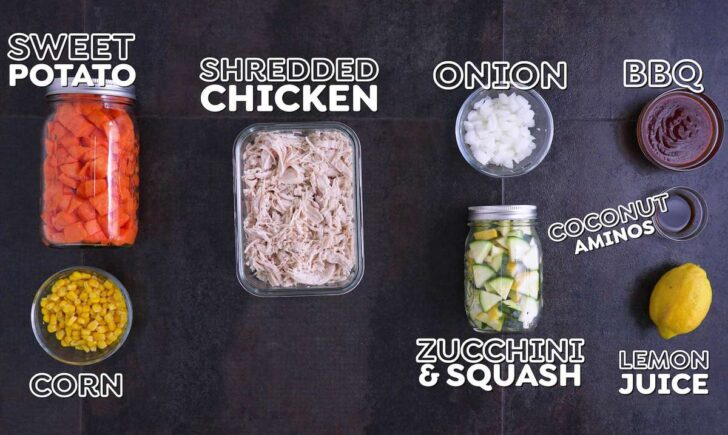 Barbecue Chicken Meal Prep Bowl Components