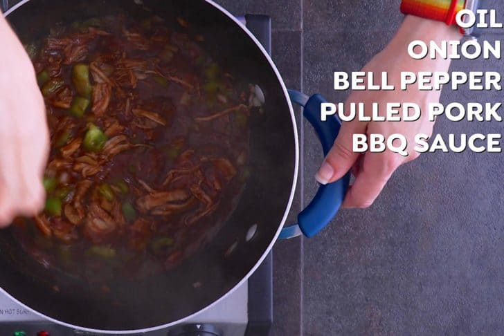 Saute veggies, then combine with pulled pork and BBQ sauce and bring to a boil.