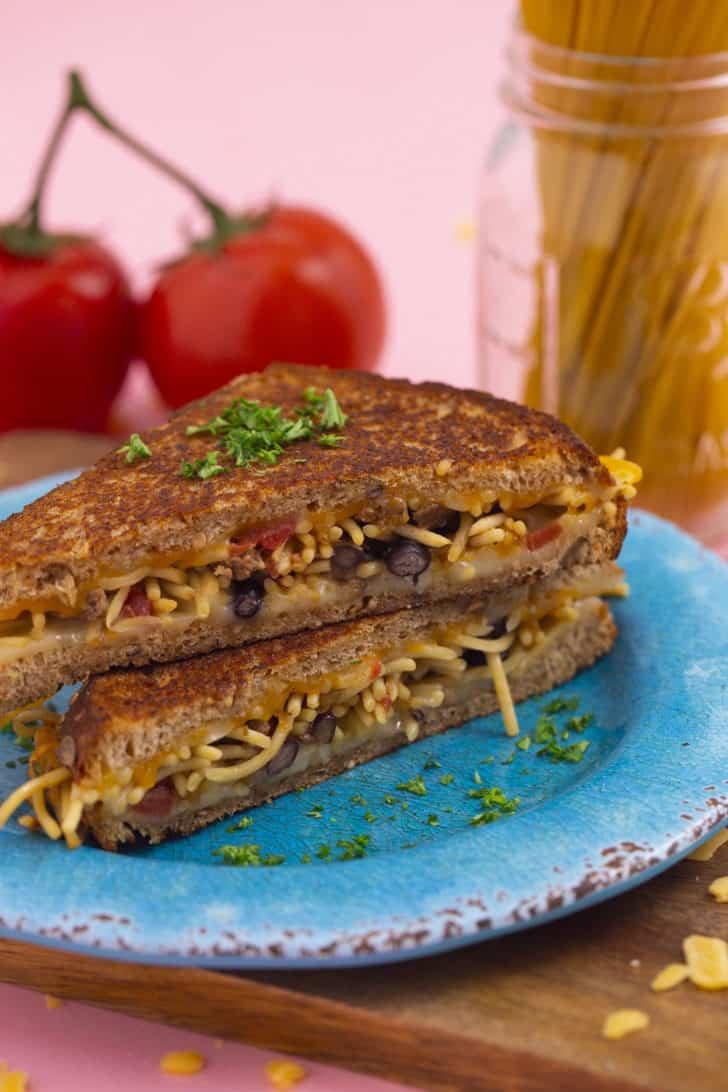 Taco Spaghetti Grilled Cheese